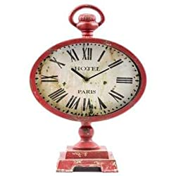 Antique Red Oval Metal Table Clock with Top Loop