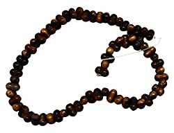 11x6mm Honey Brown Marble Barbell Bead Strand (69 Piece)