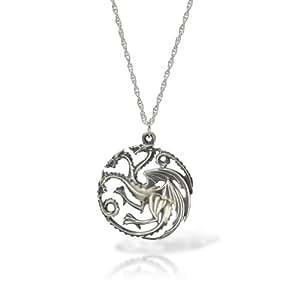 Game of Thrones Targaryen Drachen Wappen Anhänger mit Kette Silber in edler Geschenkbox