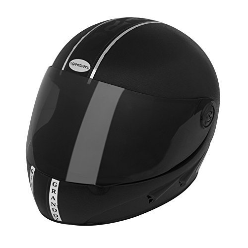 amazon Speedwav 203876 Full Face Helmet Chrome Stripes Black (Chrome_Large) @ RS.718/-