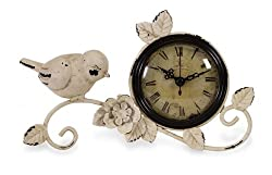 "9"" Antique Style Bird & Floral Branch Design Table Clock"