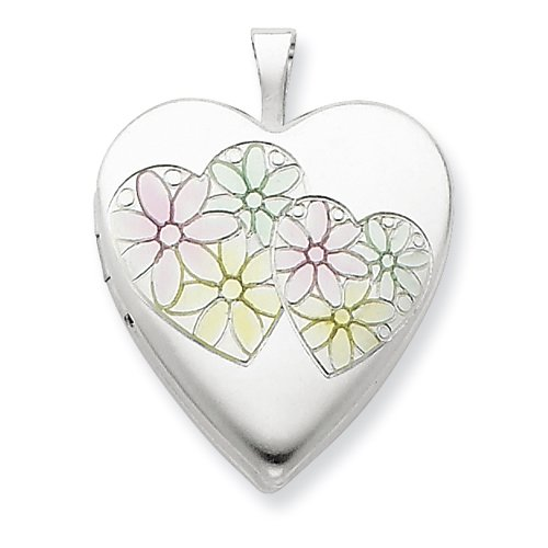 Sterling Silver 20mm Satin & Enameled Hearts & Flower Heart Locket