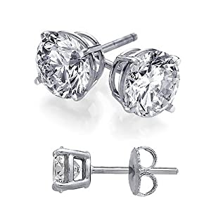 Cubic Zirconia Stud Earrings 3 Carat Total Weight Diamond Color Cz Set on Heavy 925 Sterling Silver Stud Basket Setting, Includes Gift Packaging