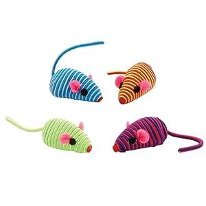 Zanies Rattling Hypno Mice Cat Toys - Set of 4 (fur free)