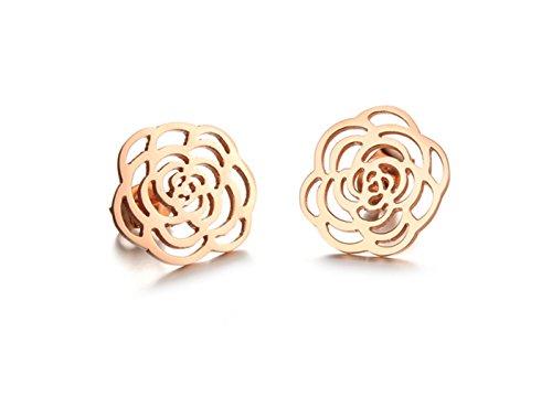 Da donna Fashion Jewellery Hollow a forma di fiore Ciondolo Collana e Orecchini Set placcato in oro rosa, acciaio inossidabile, colore: earring, cod. J0546