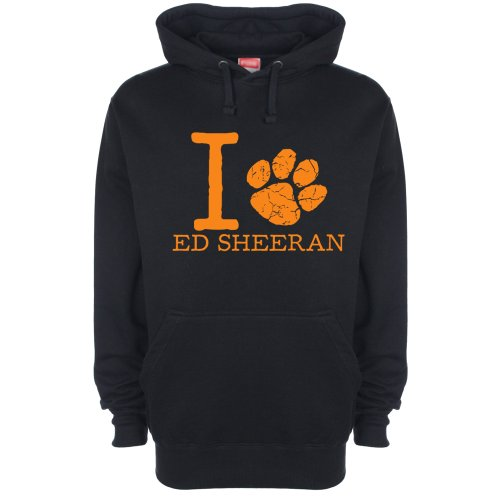 Art Hustle Mens Womens Unisex I Love Ed Sheeran Paw Hoodie (M, Orange print on Black)