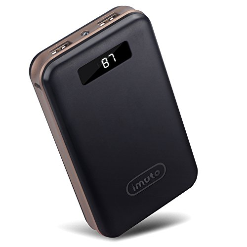 iMuto 20000mAh Compact External Battery Power Bank Portable Charger with Smart LED Digital Display and AI Power Tech, Backup Battery Pack Camping Portable Battery Charger for iPhone 6S Plus 5S 4S, iPad Pro Air 2 mini 3, Samsung Galaxy Note 5 4 3, Tab, S6 Edge S5, Nexus 6 5 4, LG G3 4, HTC One M8 M9, Moto X, SONY Xperia Z3 4 2, PS Vita, Gopro, Smart Phones and Tablets (Black)