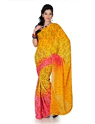 Designersareez Women Chiffon Printed Golden Yellow / Pink Saree With Unstitched Blouse(1277)