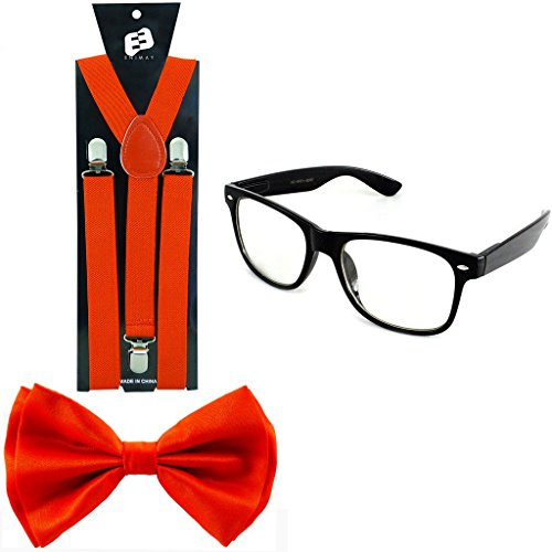 Enimay Suspender Bowtie Wayfarer Clear Glasses Nerd Costume Halloween Red