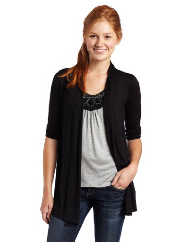 A. Byer Juniors 3/4 Shirred Sleeve with Yoke Inset Cardigan, Black/Grey, Large