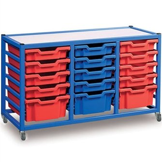 Gratnells mobile storage trolley unit with 15 plastic trays and castors