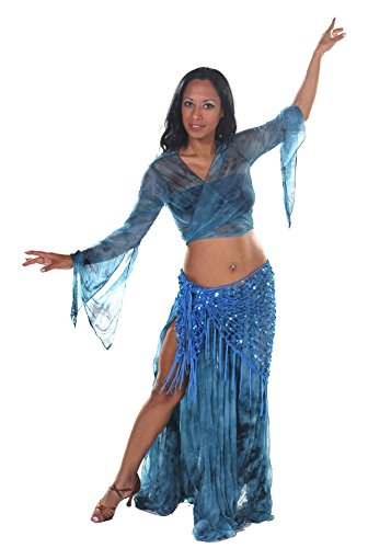 Belly Dancer Shear Choli Top, Skirt, and Net Hip Scarf Costume Set | Marble Sparkle