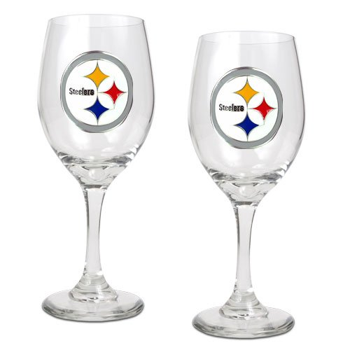 NFL Pittsburgh Steelers 14-Ounce Wine Glass (Set of Two) at Amazon.com