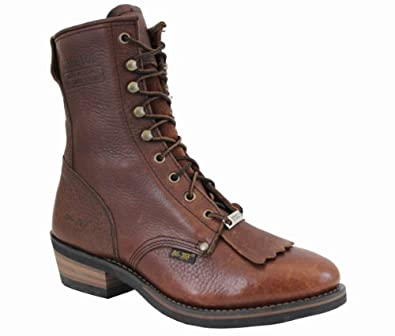 AdTec Mens 9in Western Steel Toe Packer Boots Tumble Brown Size 13 D(M) US