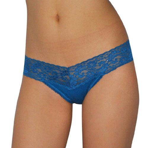 Womens Secret Treasures Sexy Low Rise Lace Trimmed Thong / Underwear Panties - Blue - Llarge