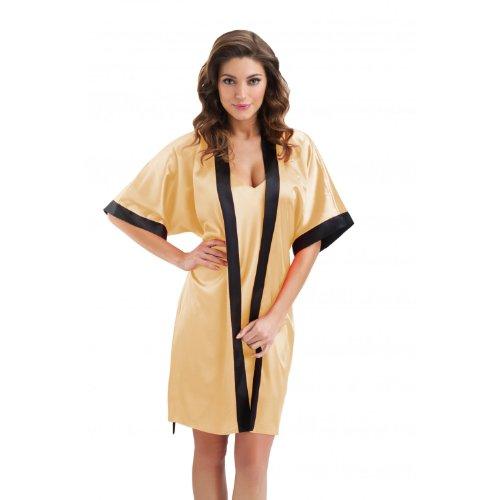 Damen Morgenmantel Satin Kimono Bademantel Schwarz, Weiß, Gold, Pink, Rot, Dunkelblau, Koralle / Made in EU, Farbe: Gold, Größe: M