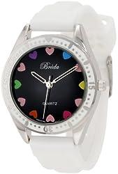 Breda Women's 2306-White Bridgette Tachymeter Bezel Silicone Band Watch