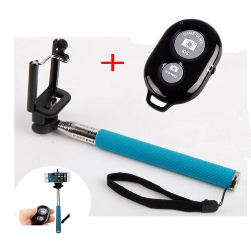 "Shopping_Shop2000 Extendable Camera Selfie Self Portrait Shooting Pole Adjustable Handheld Monopod Mount Universal Holder For Iphone 5S 5C 5 4S 4 Htc One Lg Sony Samsung Galaxy Mobile Cell Phone With Bluetooth Remote Camera Wireless Shutter (Extends 9"" Ou"