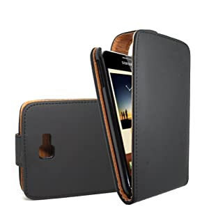 GADGET GIANT SAMSUNG GALAXY NOTE N7000 GT-N7000 AKA I9220 BLACK TAN Leather Flip Case / Cover / Pouch - With Clip In Phone Holder and Card Holder + FREE LCD Screen Protector!