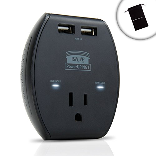 Revive Premium Appliance Surge Protection 3-Port Ac Outlet Adapter Powerup Ng1 With 1A Dual Usb Ports - Perfect For Microwaves , Fridges , Toasters , Ovens And More Home And Office Supplies **Includes Accessory Bag**