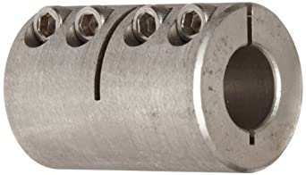 "Climax Metal ISCC-025-025-S Clamp Coupling, Stainless Steel Grade 303, 1/4"" Bore , 11/16"" OD, With 4-40 x 3/8 Set Screw"