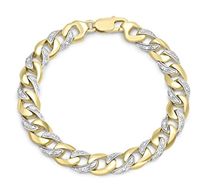 Carissima 9ct Yellow Gold Unisex Diamond Curb Bracelet 21cm/8.5""