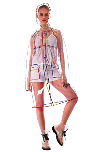 Yuding Women's Transparent waterproof Eva Hooded Colorful Hem Rain Jacket Size Large