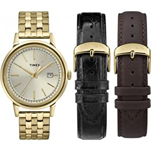 Timex Unisex Quartz Watch with Silver Dial Analogue Display and Gold Stainless Steel Bracelet Ug0118