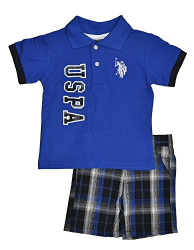 U.S. Polo Assn. Baby-Boys Infant Pique Polo And Plaid Short Set, Royal, 12 Months
