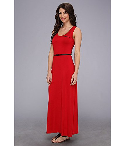 Calvin Klein Women's Sleeveless Solid Belted Maxi Dresses