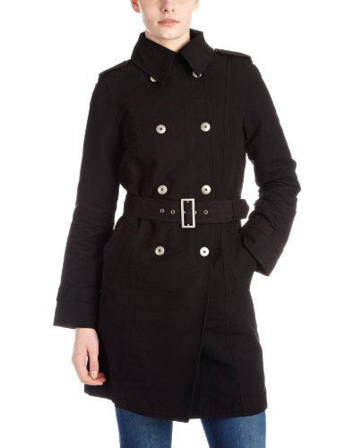 Timberland Women's Waxed Trench Coat Black 28434-1 Uk 10