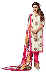 Merito Pink Embroidered Cotton Dress material