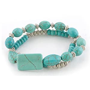 Pugster Bling Jewelry Silver Beads Different Turquoise Double Strand Bracelet