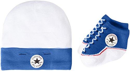 Converse Hat and Bootie, Set Bimba, Multicolore (Oxygen Blue), 0/6 mesi (Taglia Produttore: 0-6M)
