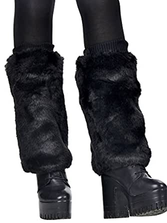 Simplicity Soft Furry Leg Warmer Boot Cuff Topper Fashion/Rave, 1426_Black