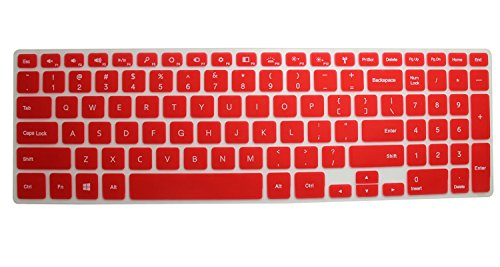 "Semi-Red Ultra Thin Soft Backlit Silicone Keyboard Protector Skin Cover For 15.6"" New Dell Inspiron 15 Ultrabook 7000 Series 15-7537 (If Your ""Enter"" Key Looks Like ""7"", Our Skin Can'T Fit)"