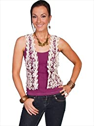 Scully Women\'s Crocheted Vest Natural Large