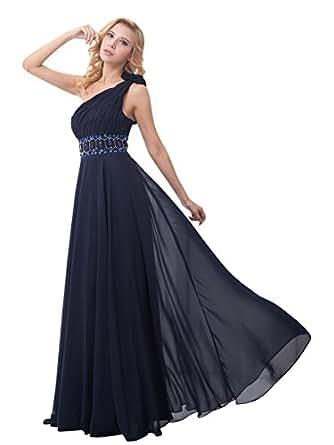 Vampal Navy Blue Chiffon One Shoulder Rhinestone Prom