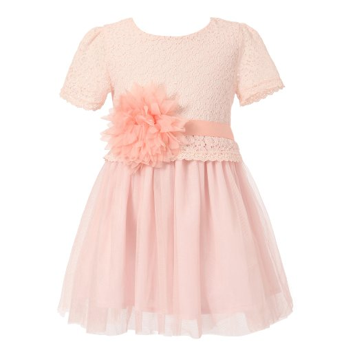 Richie House Little Big Girls' Dress with Tulle Skirt and Flower Accent Size 2-12