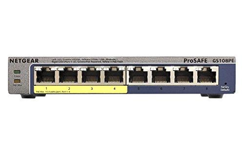 Netgear GS108PE-300EUS Switch Web Managed (Plus) Prosafe 8-Ports Gigabit (Plus) et 4-Ports PoE