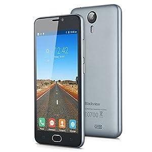Blackview BV2000 5,0 '' 4G Smartphone Débloqué Double SIM Android 5.1 Quad-core MT6735P 1G RAM + 8 G ROM 2400mAh Deux Caméra (Gris)