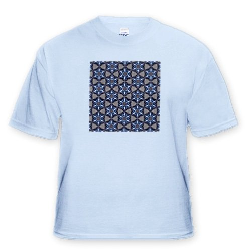 Faded blue jeans feeling steel blue black tan and white scalloped flowers pattern Toddler Light Blue T Shirt 2T