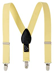 Sportoli® Kids Baby Adjustable Elastic Solid, Striped, and Polka Dot Suspenders - Baby Yellow (26 Inch)