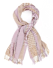M&S Collection Contrast Print Scarf with Wool
