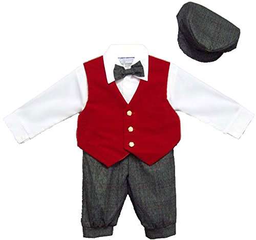 Toddler Boy's Knickers Outfit with Red Velvet Vest, Hat, Shirt, Bow Tie