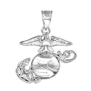Silver US Marine Corps Small Military Pendant by Claddagh Gold
