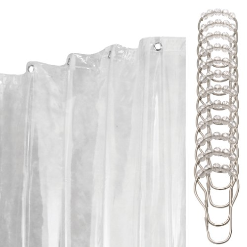 InterDesign 13-Piece Shower Curtain/Liner and Rings Set, 72 by 96-Inch, Clear Vinyl