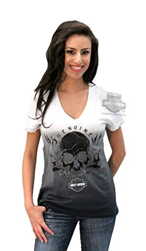 Harley-Davidson Womens Love Believer Willie G Skull Flames White Short Sleeve T-Shirt - LG