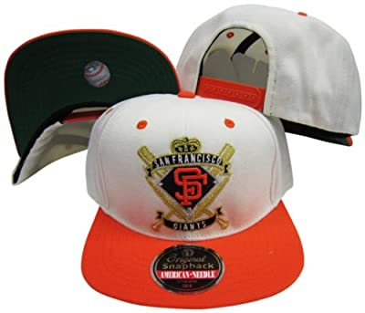 San Francisco Giants Crest Two Tone Plastic Snapback Adjustable Plastic Snap Back Hat / Cap