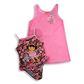 Nickelodeon - Girls One Piece Dora The Explorer Bathing Suit, Pink, Brown